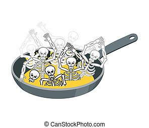 Sinner fry in pan. Skeleton in boiler. Cook sinners in oil. Religion illustration. Hell symbol. Hells torments