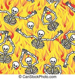 Sinners in fire hell seamless pattern. dead in Gehenna. Skeletons screaming for help. Hells torments. Religious background. reckoning for sins
