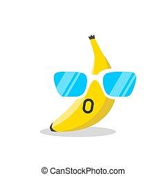 sinnesrörelse, ansikte, tecknad film, banan