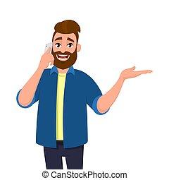 sinnesrörelse, begrepp, något, mänsklig, eller, bort, ung, cell, talande, skäggig, visande, space., hand, ringa, action., avskrift, gåva, man, illustration., mobil, gesturing, sida