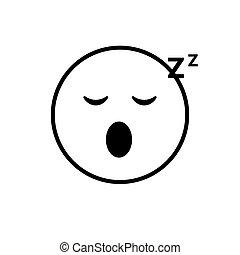 sinnesrörelse, folk, ansikte, le, sova, tecknad film, ikon