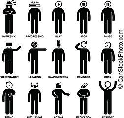 sinnesrörelse, handling, känsla, folk bemannar