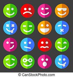 sinnesrörelse, lägenhet, ikonen, smiley, vektor, vettar, runda