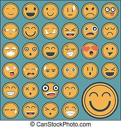 sinnesrörelse, märke, kollektion, ansikte