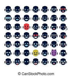 sinnesrörelse, olik, sätta, ikonen, vettar, robot, ...