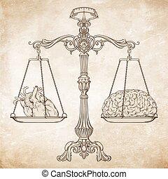 sinnesrörelse, prioritet, vektor, logik