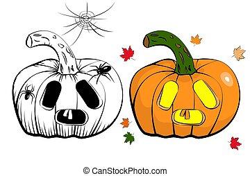 sinnesrörelse, sätta, färgad, ikonen, halloween, masker, vektor, svart, överraskning, vit, pumpa