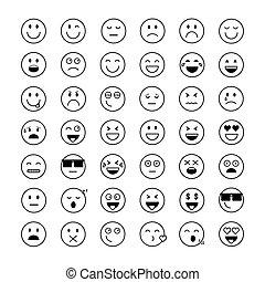 sinnesrörelse, sätta, folk, ansikte, le, tecknad film, ikon