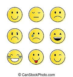 sinnesrörelse, sätta, folk, gul vett, le, tecknad film, ikon