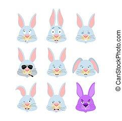 sinnesrörelse, sätta, kanin, hare, skyldig, illustration, trist, avatar., sleeping., vektor, djur, face., sova, ilsket, eggplant., emoji