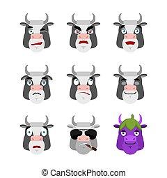 sinnesrörelse, sätta, ko, lantgård, ilsket, skyldig, illustration, trist, avatar., sleeping., vektor, djur, sova, face., emoji