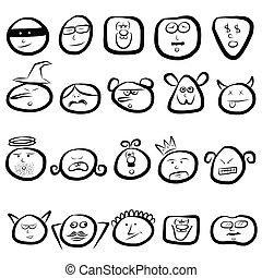 sinnesrörelse, sätta, vettar, ikon