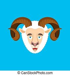 sinnesrörelse, sheep, emoji., lantgård, merryl, bagge, illustration, ansikte, avatar., vektor, animal., lycklig