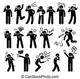 sinnesrörelse, uttryck, folk, kännanden