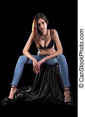 sinnlich, junge frau, tragen, damenunterwäsche, und, jeans