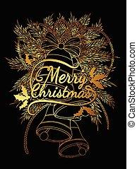 sino, árvore, ouro, natal, vetorial, experiência., sinos, blaclk, decorations.