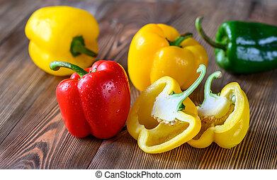 sino, coloridos, fresco, pimentas