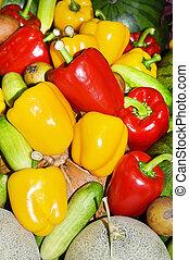 sino, doce, verde amarelo, pimentas, vermelho