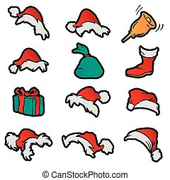 sino, natal, claus., jogo, botina, icons., presente, vetorial, santa, saco, chapéus, caricatura