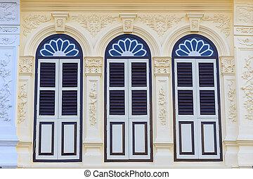 sino-portuguese, vendimia, estilo, ventana, tailandia, o, ...