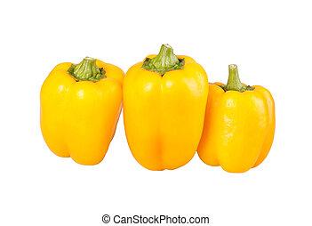 sino, três, amarela, isolado, contra, pimentas, branca