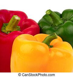 sino, -, três, verde amarelo, pimentas, vermelho
