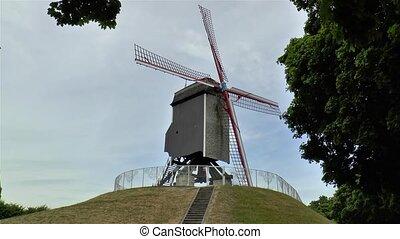 View of the traditional Sint-Janshuis Mill, Bonne-Chi?remolen in Bruges, Belgium.