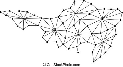 Sint Maarten map of polygonal mosaic lines network, rays and dots vector illustration.