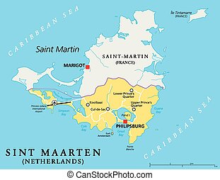 Sint Maarten Political Map. The southern part of the caribbean island Saint Martin. A constituent country of the Kingdom of the Netherlands with capital Philipsburg and important places. English labeling and scaling. Illustration.