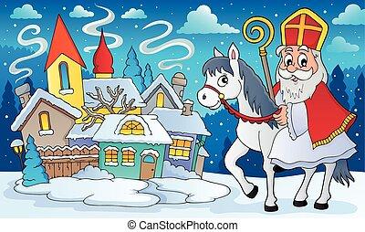 sinterklaas, 8, 馬, 主題, 圖像
