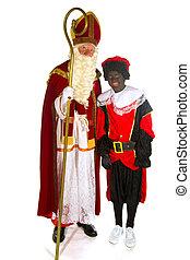 Sinterklaas and Black Piet in the studio