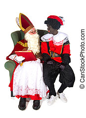 Sinterklaas and Black Piet and the red book