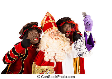 Sinterklaas and Zwarte Piet making selfie. isolated on white background. Dutch character of Santa Claus