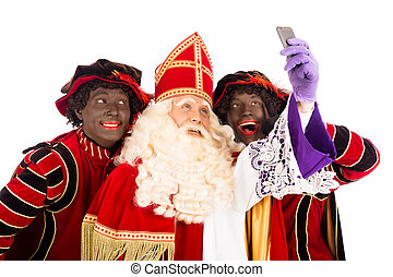 Sinterklaas and Zwarte Piet taking Selfie - Sinterklaas and...