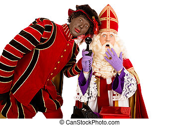 Sinterklaas and zwarte piet with telephone - Sinterklaas and...