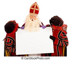 Sinterklaas and zwarte pieten with whiteboard - Sinterklaas...