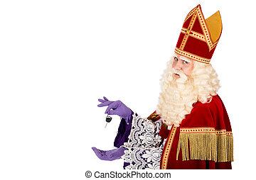 Sinterklaas holding car key on white background
