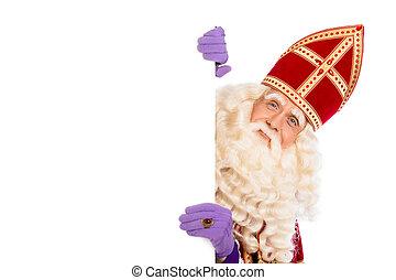 Sinterklaas isolated on withe - Smiling Sinterklaas with...
