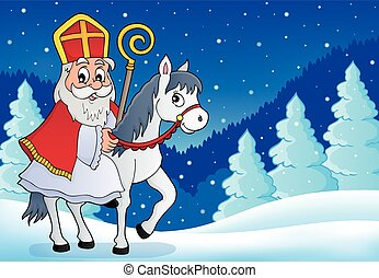 Sinterklaas on horse theme image 6 - eps10 vector...
