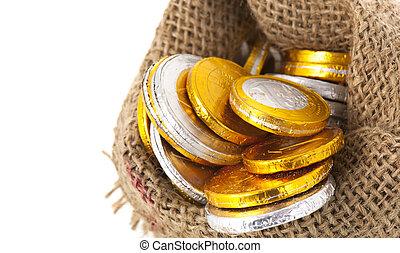 sinterklaas, pièces, florins hollandais, chocolat