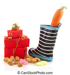 Sinterklaas shoe carrot and candy isolated over white