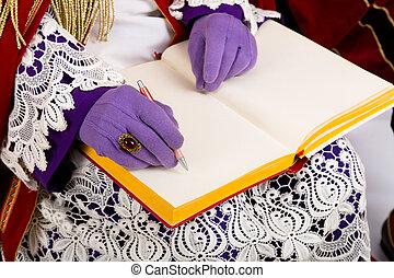 Sinterklaas with empty book - Sinterklaas with book.Detail....