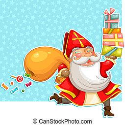sinterklaas with presents - cartoon Sinterklaas (st....