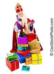 Sinterklaas with telephone - Sinterklaas with presents and...