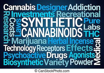 sintetico, cannabinoids, palavra, nuvem
