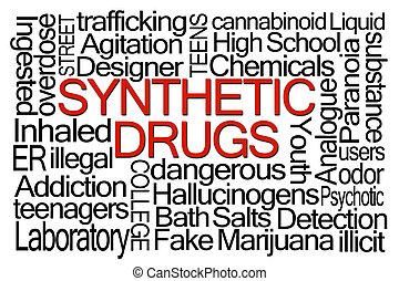 sintetico, drogas, palavra, nuvem