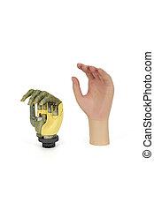 sintetico, substituindo, mão, prótese, pele, alta tecnologia