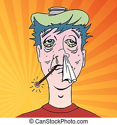sintomas, gripe, terrível, homem