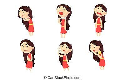sintomi, collezione, femmina, detenere, ragazza, differente, gola, mal di testa, dolore, sofferenza, malattia, stomaco, persona, vettore, mal di denti, illustrazione, piaga
