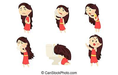 sintomi, collezione, femmina, detenere, ragazza, differente, sofferenza, malattia, stomaco, persona, vomito, vettore, mal di denti, illustrazione, dolore, eruzione